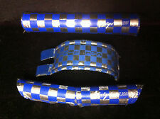 Blue Chrome ANODIZED BY FLITE FRAME STEM HANDLEBAR PAD SET Old School BMX Pads