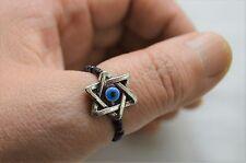 A Star Of David Blue Evil Eye Charm Black Beads  Thumb Finger Toe Ring Jewish