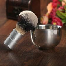 Badger Silvertip Hair Shaving Brush Stainless Steel Bowl Mug Cup Barber Tool Kit