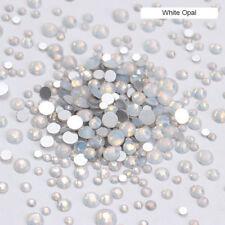 White Opal White Nail Crystal Rhinestone Flat Bottom Multi-Size Studs 3D Decors