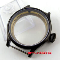 43mm black PVD steel parnis Watch CASE sapphire glass fit 6498 6497 eat movement