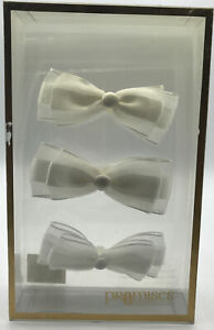 White Wedding Accessory Bows Organza and Satin Hook and Loop Set of 4