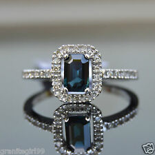 Blue SAPPHIRE & Diamond Halo RING 14k White Gold Size 7.25 ENGAGEMENT Ring