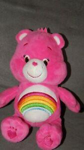 "Care Bears Pink Cheer Bear 2014 Just Play 8"" Bean Bag Plush Stuffed Animal Toy"