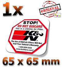 K&N Stop 65x65mm Aufkleber, Étiquette, Autocollant, Sticker Decal KN K und N 57i