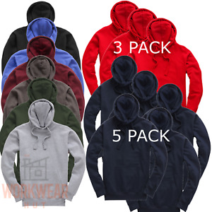 Plain Blank Hoodies, Ideal Workwear for Adults 3 or 5 Pack Bulk Deal