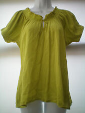 SIZE 14 GREEN CRINKLE LOOK TOP BY SOUTH SMOCKING TRIM AT NECK VGC