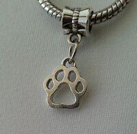 Pet Animal Cat Dog Paw Print Dangle Bead fits European Charm Bracelets Silver