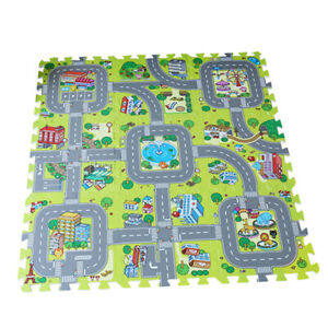 Traffic Play Mat Puzzle Foam Interlocking Tiles Kids Road Traffic Play Rug J5D6