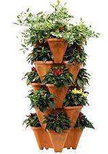 New Large Vertical Gardening 5 Stackable Pots Planters Indoor Outdoor Grower