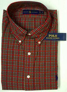 NEW $98 Polo Ralph Lauren Long Sleeve Dress Shirt Mens Red Green Plaid Cotton