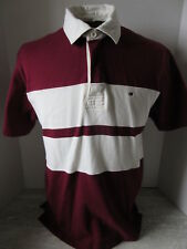 Tommy Hilfiger Burgundy & White Color Block Polo Shirt Large 5 Size Small
