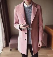 New Mens Wool Blend Trench Coat Korean Slim Fit 3Button Parka Jacket Overcoat SZ