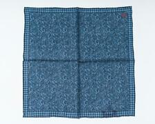 "Isaia Napoli NWT Denim Blue Melange Pocket Square Wool Silk Blend 12"" 30 cm"