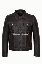 'TRUCKER' Mens SKIPPER Leather Jacket  Brown | REAL HIDE LEATHER JACKET 1280
