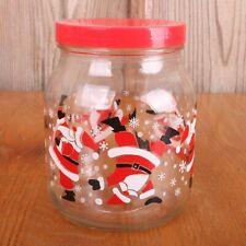 Santa Lidded Canister Christmas Glass Jar
