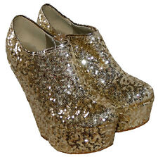 LADIES 6 INCH WEDGE SIDE ZIPPED SUMMER/BEACH/CASUAL WEDGES GOLD SEQUINS 5