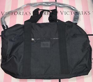 Victoria's Secret VS PINK Duffle Bag Gym Duffel Travel Weekender BLACK LARGE