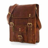 Men's New Leather messenger shoulder bag vintage Small briefcase laptop ipad bag