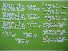 "15 White Tattered Lace & Tonic Die Cut ""Christmas Sentiments"" Embellishments"