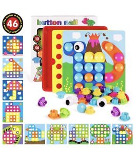 Toddler Activity Puzzle Learning Bundle (button Nail, Alphabet Tower Box Set)