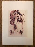 """Anonymus evtl. Max Liebermann 1920 """"Erotische Grotesken"""" Aquarellierte Radierung"""