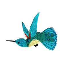 ID 0495A Blue Feathered Flying Hummingbird Patch Embroidered Iron On Applique