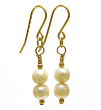 9ct Gold Earrings with Natural White Freshwater Pearls and Gold Beads