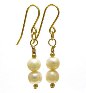 9ct Gold White Pearl Earrings with Natural Freshwater Pearls, Dangle/Drop Hooks