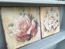 A Pair of Shabby Vintage Chic Metal Signs Pretty Cream and Pink Roses Plaques