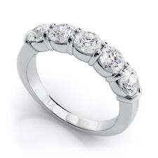 1.25 Ct 5 Stones Charles & Colvard DIAMOND Real 10K White Gold Wedding Band
