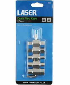 "Laser Drain Plug Key Set 5pc 9mm-17mm& 5/16"" Hex 8mm-13mm 3/8"" Square New Sealed"