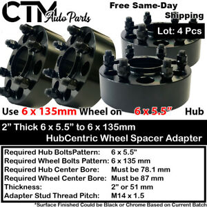 """4PC 2"""" THICK 6X5.5"""" to 6x135 HUBCENTRIC WHEEL ADAPTERS SPACER FIT 6LUG CHEVY GMC"""