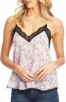 1. State Women's Top Pink Size XXS Cami Lace Trim V Neck Floral Print $69 #044