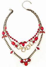 Stones Premier Urban Chic 11N Designer Statement Necklace Antique Brass Red