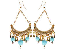 Asian ChicGolden Metal Tone Intricate Design Blue Bead Fashion Earrings