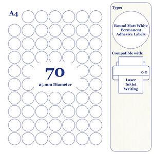 A4 Round Sheet 25mm Circular Labels. Blank Inkjet Laser Sticky Printer Stickers