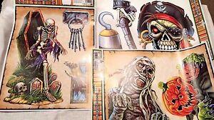 Halloween Window Clings Skeletons Pirates Mummy Pumpkins Coffin Skulls Graves