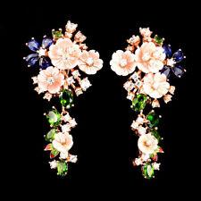 925 Silber Ohrringe*Roségold beschichtet*Perlmuttblumen Chrom Diopside & Saphir
