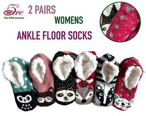 2 Pairs Womens Winter Ankle Floor Socks Cute Fur Fleece Slippers Knit Thick Warm