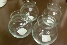 SET OF 4 ANCHOR HOCKING CLEAR GLASS HURRICANE CANDLE HOLDERS PILLAR OR VOTIVE