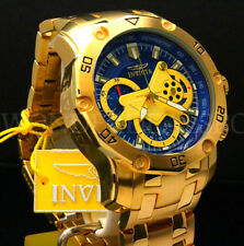 Invicta Men's Pro Diver Scuba Skeletonized Blue Dial 18k Gold Plated SS Watch