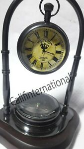 Table Clock with Compass, Antique Desk watch - Table clock For Valentine's Gift