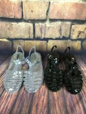 2 Pair Wild Diva Gel Sandals In Black And Clear Glitter Size 10