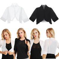 UK-Women Half Sleeve Sheer Soft Chiffon Bolero Shrug Open Front Jacket Cardigan