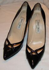 Jimmy Choo Black Patent Leather Stiletto Heels 37 7 Shoes Womens