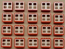 x20 NEW Lego Classic Windows CITY TOWN HOUSE PARTS Red w/ White Window Panes