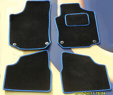 VAUXHALL CORSA D & SRi 2007 ON BLACK CARPET CAR  MATS /  BLUE  EDGE 4 X CLIPS B
