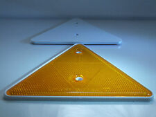 2 x AMBER Large Screw-On Triangle Reflectors (Pre-drilled) Trailer Caravan