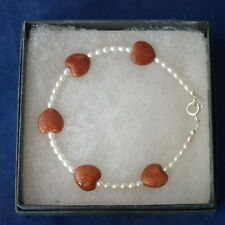 Beautiful Bracelet With Sunstones And Freshwater Pearls Gems 8 Cm.Long In Box